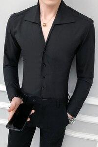 Image 5 - Camisa de alta calidad para hombre, moda sólida 2020, manga larga, esmoquin, vestido ajustado con cuello vuelto, camisas sociales informales 3XL