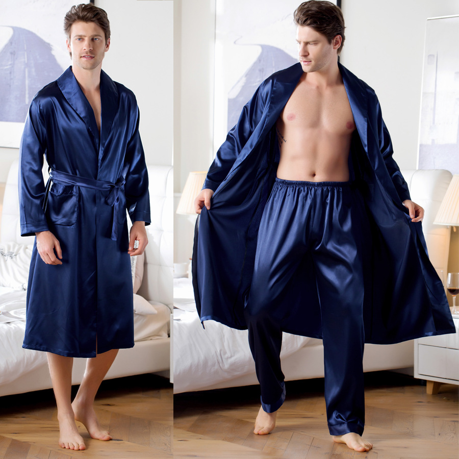 Explosion Models Silk Gowns Home Clothes Ice Silk Pajamas Bathrobe Mens Robes Long  Kimono Men Chandal Hombre Badjas Mannen