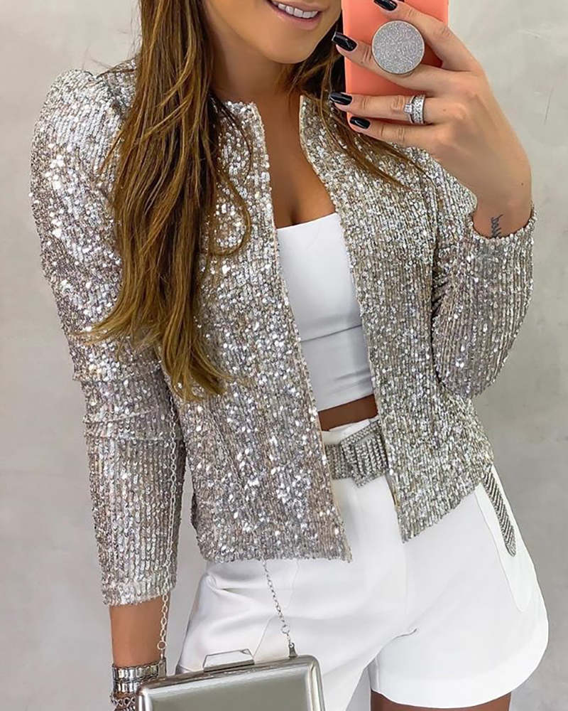 Female Jacket Coat Buttons O-Neck-Out-Wear Sequin Pearls Long-Sleeve Women Casual Ladies title=
