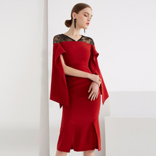 2019 New Arrival Luxury Brand High Quality Fashion Dress Women Runway Designer Slim Lace Patchwork Red Work Midi Dresses Ladies