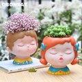 Цветочный горшок с человеческим лицом мультяшный Maneki Neko цветочный горшок для мальчиков и девочек портретный цветочный горшок суккулентный...