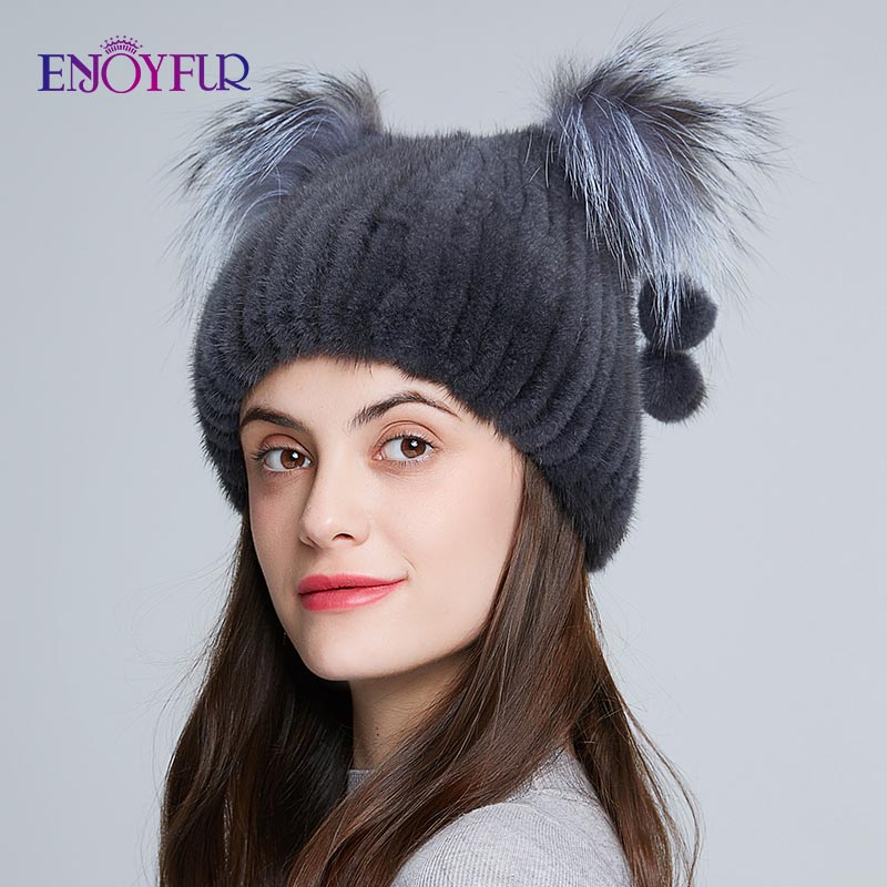 ENJOYFUR Women's Genuine Mink Fur Hat With Fur Pom Poms Winter Autumn Lovely Cat Ear Style Caps