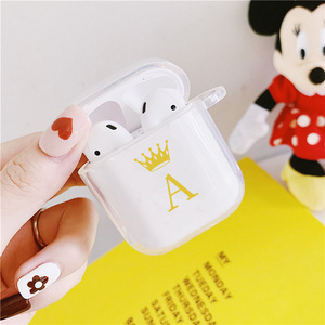 Cute Gold Crown Letter Couple Headphone Cases For Airpods 2 1 Cartoon Protective Soft Cover Transparent Wireless Earphone Coque(China)