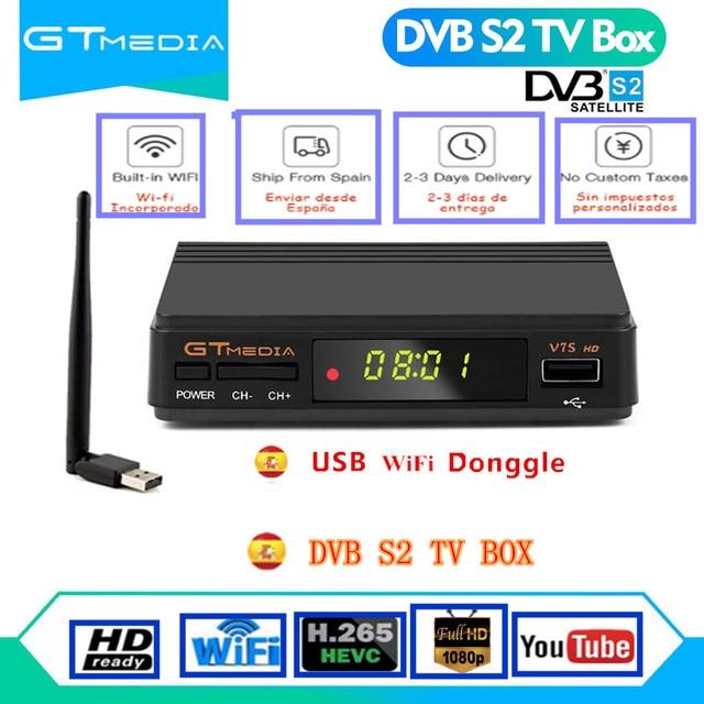 DVB S2 استقبال الأقمار الصناعية أوروبا فك GTMedia V7S HD استقبال الأقمار الصناعية الرقمية DVB S2 V7S 1080P USB واي فاي ترقية Freesat V7