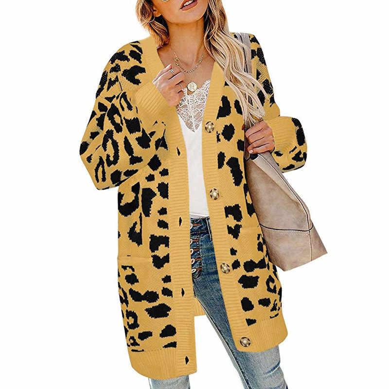 Модный Леопардовый вязаный свитер женский белый хаки желтый Свободный Топ Кардиган 19 осень зима новый V шеи плюс толстый свитер JD661