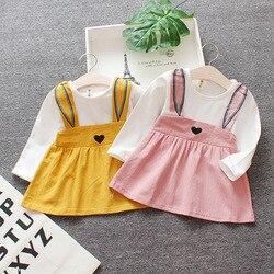 3m-2t roupas de verão do bebê recém-nascido infantil do bebê vestido da menina roupas a linha mini vestido de princesa coelho vestido de orelha dos desenhos animados vestido