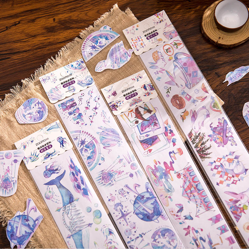 1Pc 65*350mm Cute Whale Stationery Sticker Kawaii Magic Track Sticker Paper Adhesive Sticker For DIY Scrapbooking Diary Supplies