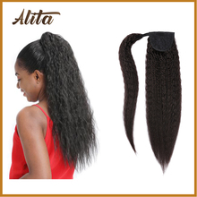 AFRO Long Kinky Straight Ponytail Hair Extension Synthetic Wrap Around Hairpiece Drawstring Yaki Ponytail With Clip Elastic Band