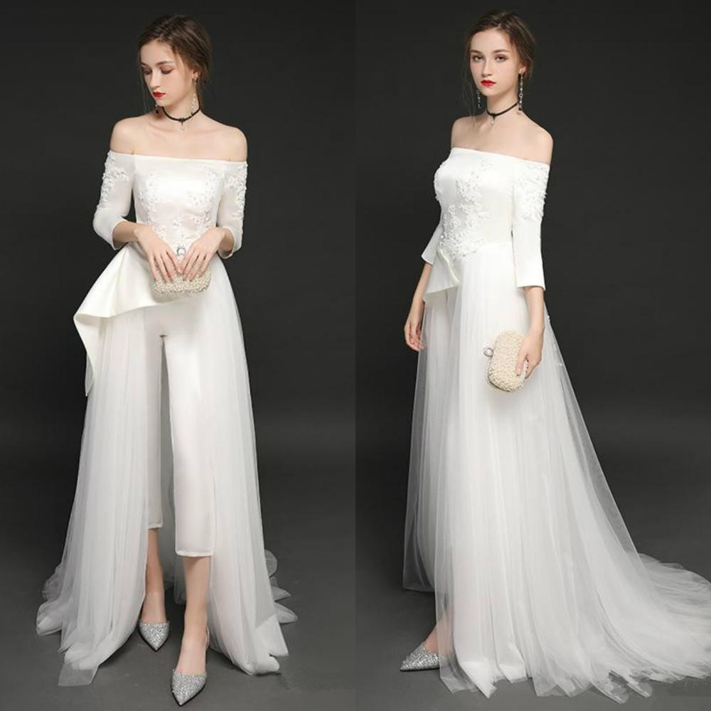 Off The Shoulder 2020 Jumpsuits Wedding Dress Lace Appliqued Beads Vestido De Noiva Boho Long Sleeve Pants Bridal Gowns