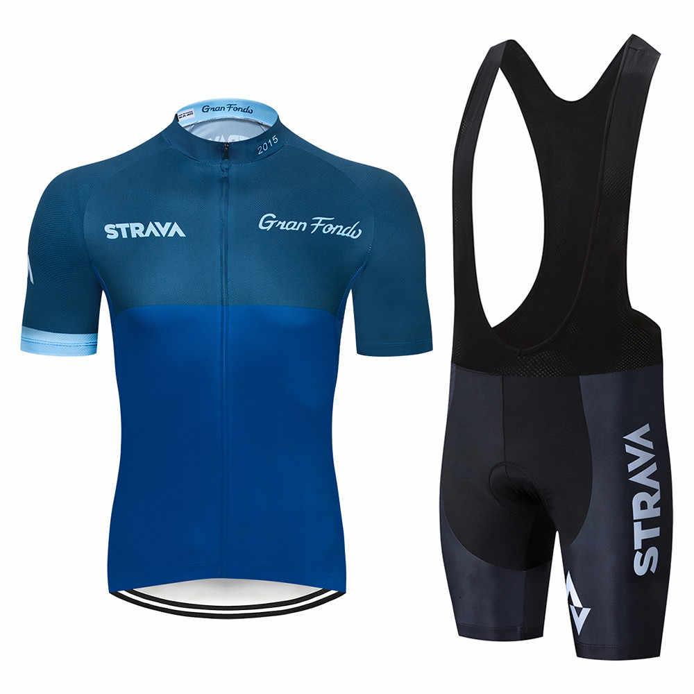 Nowy 5 kolorów STRAVA Pro zespół rowerowy z krótkim rękawem Maillot Ciclismo dżersej męski rowerowy letni oddychający odzież rowerowa zestawy
