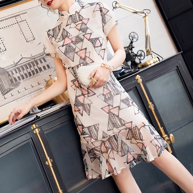 Manufacturers Direct Selling New GIRL'S Cheongsam Nian Qing Kuan Chiffon Printed Short Improved 2019 New Style Summer 19260