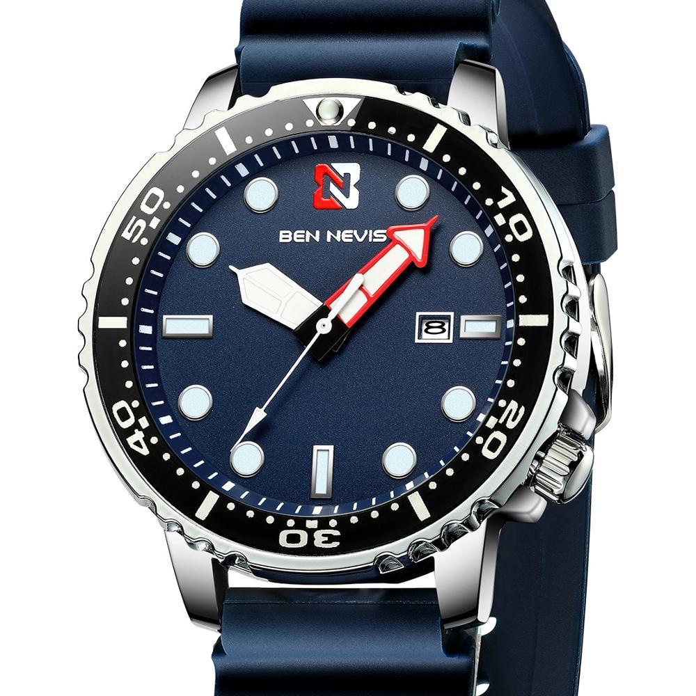 Fashion Men Sport Quartz Watch Top Luxury Brand Ben Nevis Silicone Strap Calendar Wristwatch Male Gifts Clock Relogio Masculino