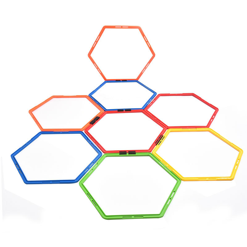 Football Trainer Hex Agility Ring Training Circle Physical Fitness Training Ring Hurdle Speed Loop Buckle Barrier Jumping Ladder