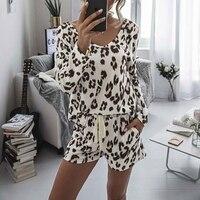 Conjunto de pijama de leopardo para mujer, ropa de dormir informal para Primavera, traje para casa, Top, pantalones, 1 Juego