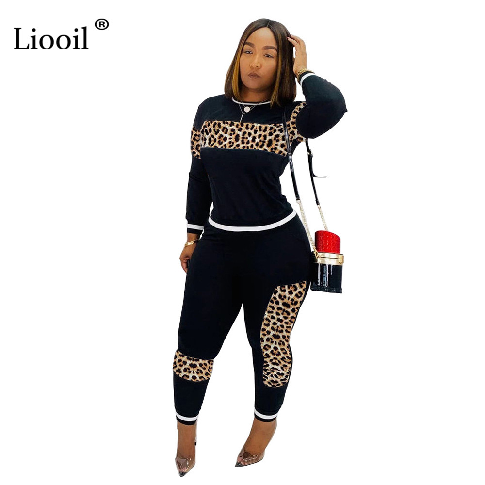 Liooil Leopard Print Two Piece Set Party Club Outfits For Women 2019 Autumn Winter Long Sleeve O Neck Top And Pencil Pants Sets