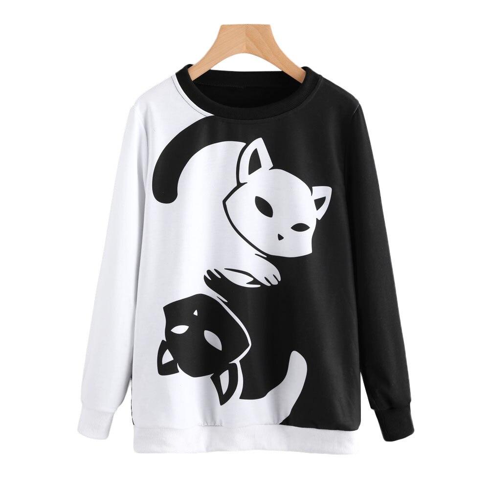 Kawaii Long Sleeve Tops Blouse Black Womens Wild Animals Crop Tops Pullover Sweatshirt