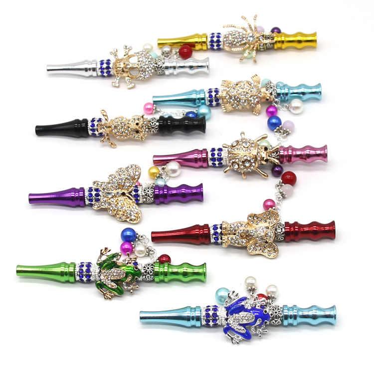 Bola de jóias incrustada com pingente, forma de caveira animal, boca, narguilé, feito à mão