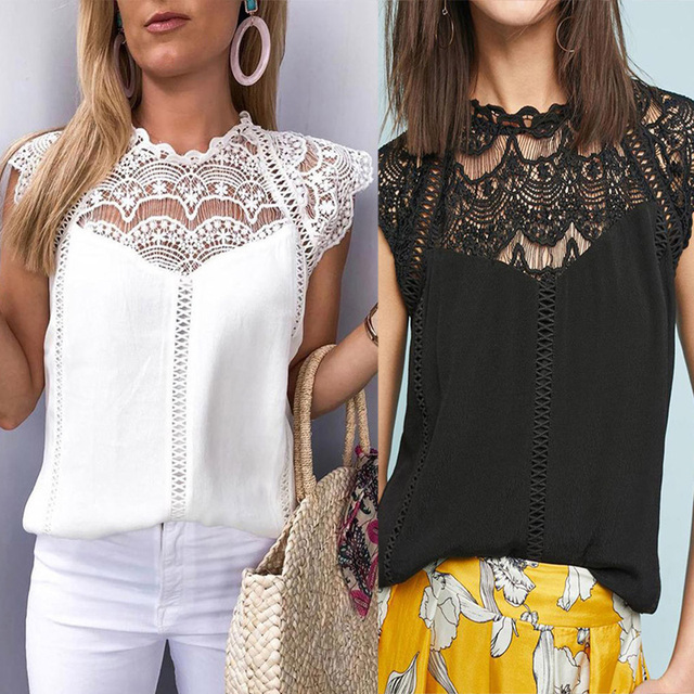 Summer 2021 Womens Tops And Blouses Lace Patchwork Sleeveless Solid Shirt Women Blouse Blusas Roupa Feminina 2