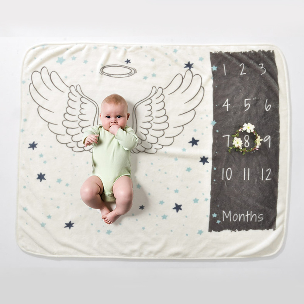 Children's Blankets Baby Monthly Growth Milestone Flannel Print Blanket Newborns Cotton Soft Muslin Diapers Toddler Swaddle Wrap