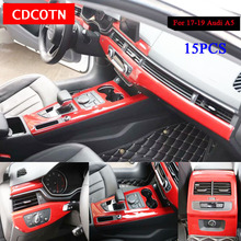 15Pcs Car Stickers Interior Wood Grain Color Cover Trim Panel Overlay Frame Kit Fit For 2017-19 Audi A5 Auto Accessorie