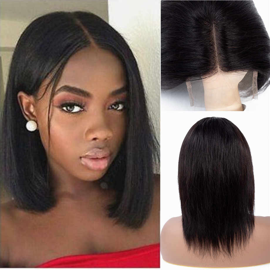 Short Bob Lace Front Wigs Brazilian Straight Lace Front Human Hair Wigs For Black Women 150% Density Pre Plucked With Baby Hair