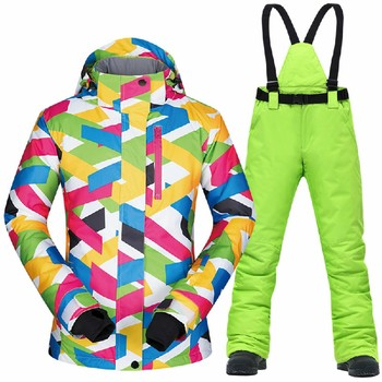 Women Ski Suit Brands High Quality Female Snow Jacket and Pants Waterproof Clothes Winter Snowboarding Suits Ski Jacket Women dropshipping waterproof sportwear female ski suit women winter ski wear hooded jacket strap pants snow jacket and pants