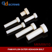 PA66 M6M8M10 Nylon Outer Hexagon head Bolt DIN933 GB5783 ISO 4017 JIS B 1180.4