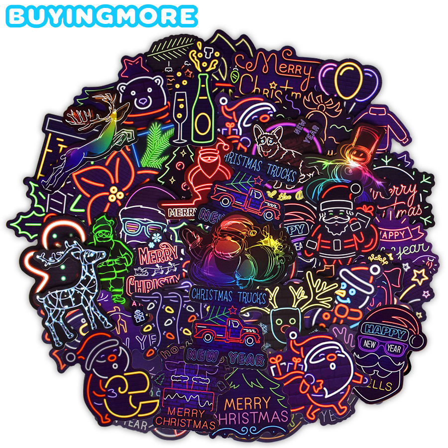 50 PCS Christmas Neon Style Stickers Gifts For Kids Cartoon Animal Cute Santa Claus Waterproof Sticker To DIY Guitar Fridge Car