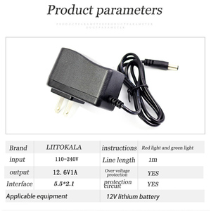 Image 4 - 1 10 pces liitokala 12,6 v 1a carregador de bateria de lítio 3s 12v bateria 100 240v carregador dc cabeça é 5,5*2,1mm