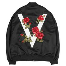 2019 Autumn Women's Jacket High Quality Rose Embroidered Satin Jacket Street Style Zipper Loose Coat Print Bomber Jacket Women embroidered tape detail geo print jacket