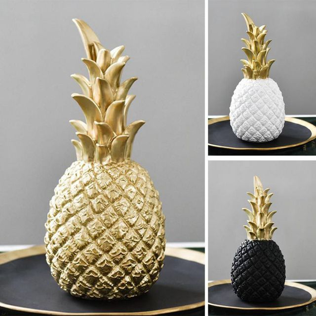 Pineapple Shaped Figurine Gold Black Pineapple Crafts Miniatures Gift For Office Home Decoration Pineapple 6
