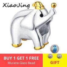 New 100% 925 Sterling Silver cute Gold hat Elephant Animal Beads fit pandora Women Charm Bracelet Jewelry Gift free shipping цена