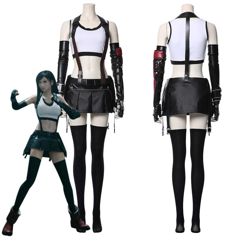 Final fantasia vii cosplay tifa lockhart cosplay traje feminino menina outfit esportes colete saia conjunto completo halloween carnaval