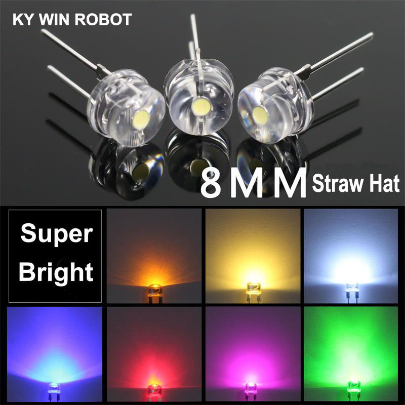 10PCS Red White Green Blue Yellow 8MM Straw Hat 0.5W LED Light Emitting Diode AM