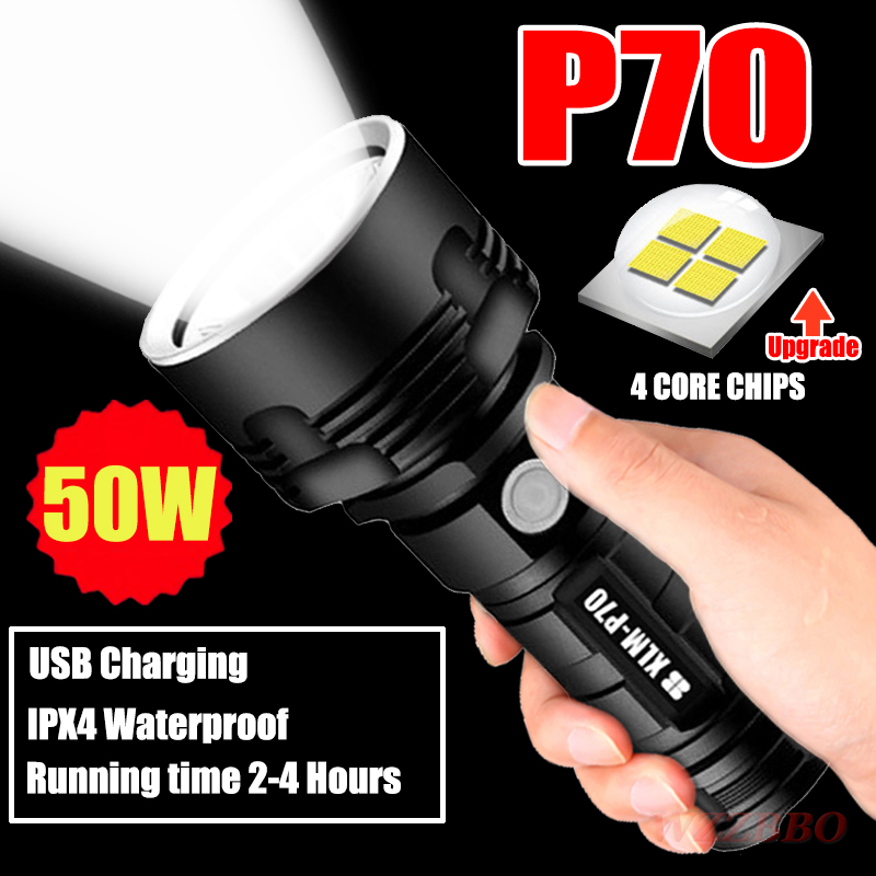 Super Powerful LED Flashlight L2 XHP70 Tactical Torch USB Rechargeable Linterna Waterproof Lamp Ultra Bright Lantern Camping