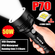 Super Powerful LED Flashlight L2 XHP70 Tactical Torch USB Re