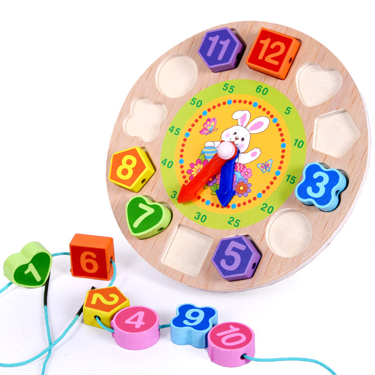 Wooden Children Early Childhood Educational Color Shape Cognitive Matching Cartoon Animal With Numbers Wearing Rope Beaded Brace
