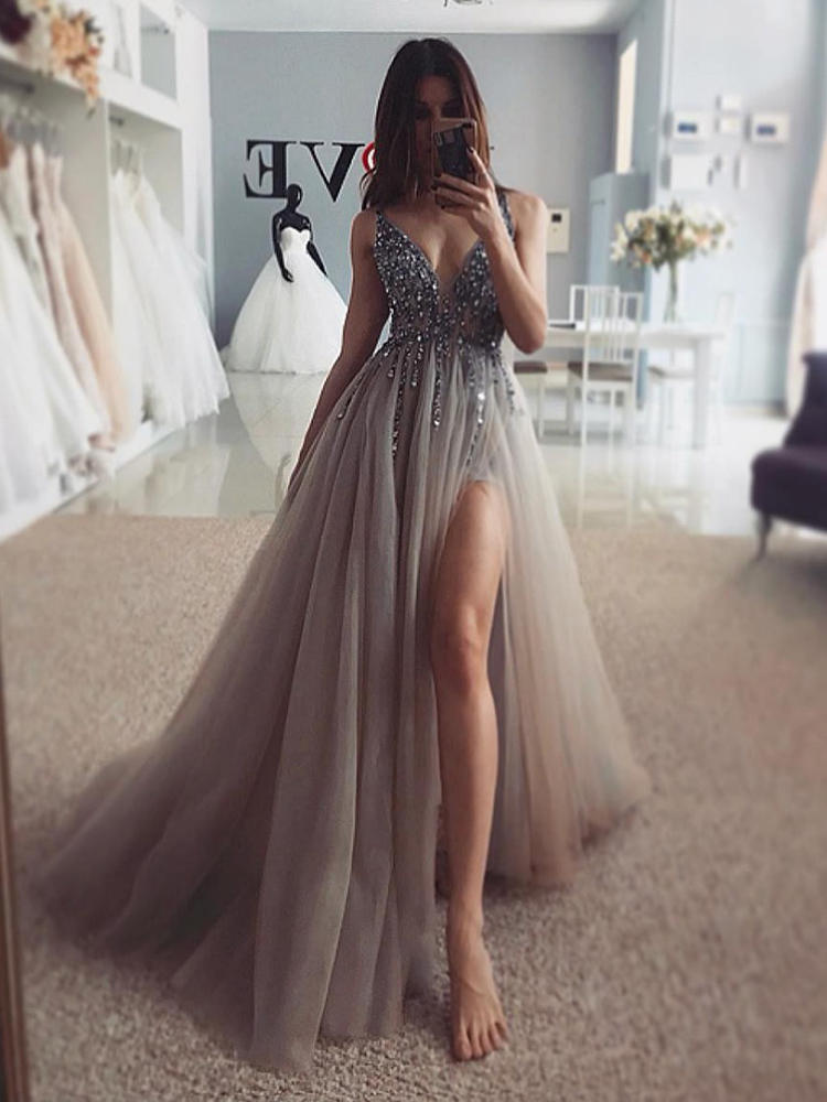 Prom-Dresses Light Beading Evening-Gown Train Tulle A-Line Backless Gray V-Neck Long