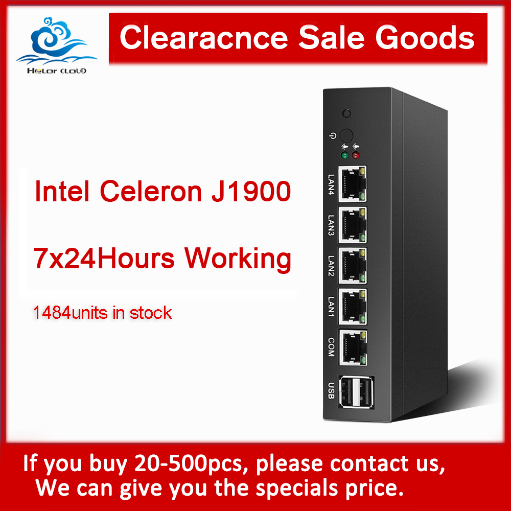 HLY Clearance Mini PC Celeron J1900 4*Gigabit Ethernet LAN Pfsense Ubuntu Firewall Router Fanless Micro PC Industrial Computer