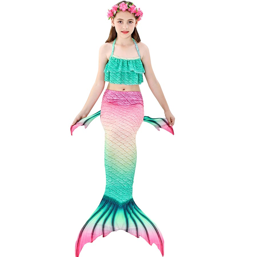 H23f700c573f448e0ab5ca7027a4d3ed02 - Kids Swimmable Mermaid Tail for Girls Swimming Bating Suit Mermaid Costume Swimsuit can add Monofin Fin Goggle with Garland