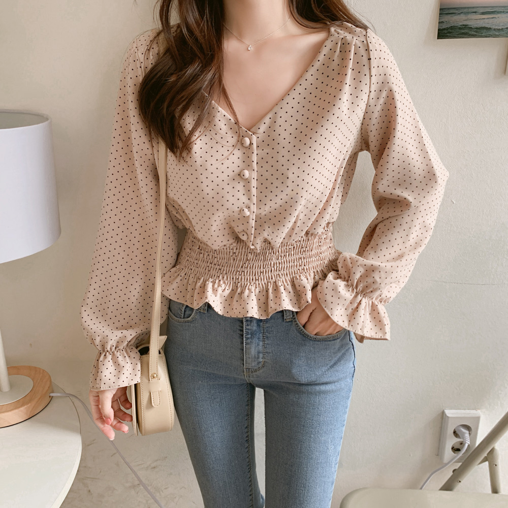 H23f7075b87654784822a2ae77ebe0157I - Vintage V-neck Flare Sleeve Polka Dot Women Blouse Shirts Elegant Front Buttons Slim Waist Ruffles Female Blouse blusas 6602 50