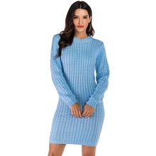 Casual Blue Sweater Dress O-Neck Full Sleeve Long Pullovers Knitted Jumper Sexy Autumn Winter Bodycon Pencil Dress Ropa Mujer lengthened long sleeve knitted dress sexy back split vintage twist striped pencil dress autumn winter thick knitted casual dress
