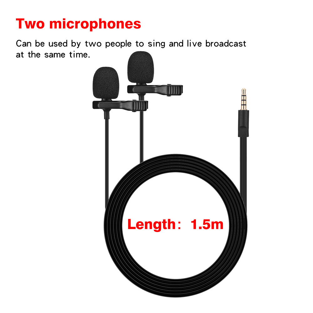 iiiMymic Dual-Head Lavalier Lapel Microphone Clip on Wired Mic for ios Android Smartphone Mobile Phone Cell Laptop Recording