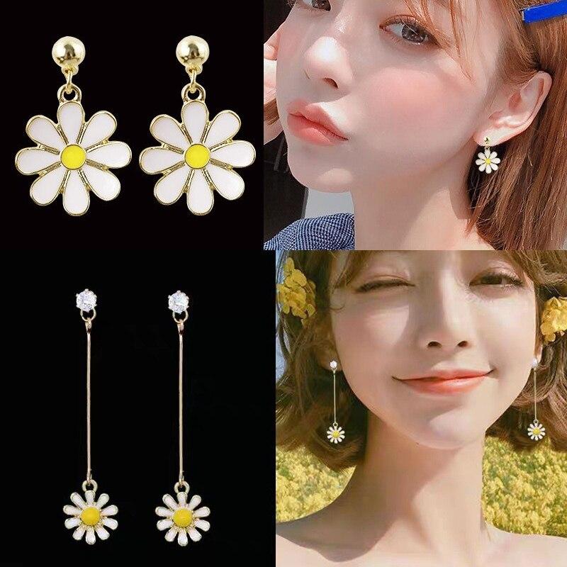 Daisy Yellow Sun Flower Stud Earrings Girl Drop Jewelry Stud Earrings