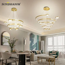 Черный и золотой современный светодиодный подвесной светильник