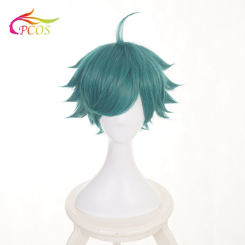 цена на Short Anime Zhuang Zhou Cosplay Wigs Dark Green Synthetic Wig for Glory of Kings Costume Wig +Free Wig Cap
