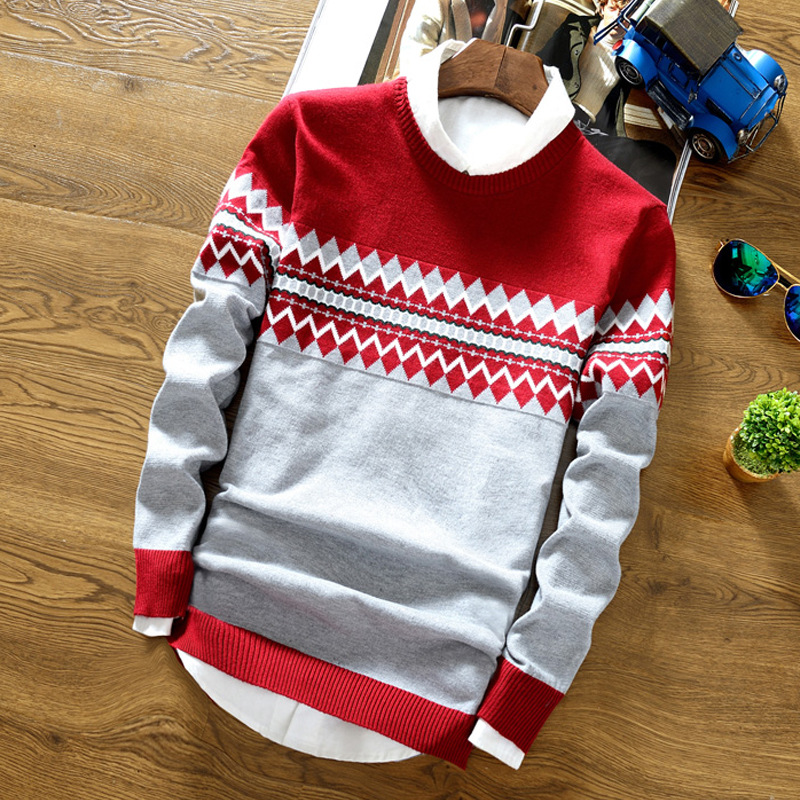 Men Sweater Splice Printed Casual Long Sleeve Sweater Knitted Pullover Strip Printed Vintage Male Sweater