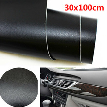 1pc car Interior Trim decorative Sticker 30*100cm 3D Black Leather Texture Sheet Auto Vinyl Film accessories