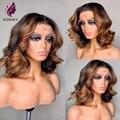 Парик из человеческих волос с эффектом омбре, бразильский Светлый коричневый хайлайтер, короткие волнистые волосы, парик 13x4, парик из челов...