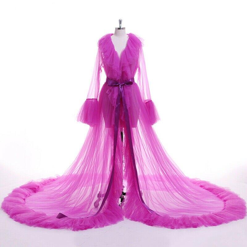 Women Lace Mesh Feather Patchwork Sleepwear Robes Sexy Lingerie Nightwear Babydoll Sleepwear Robe Lady Loose Long Sleeve Robes